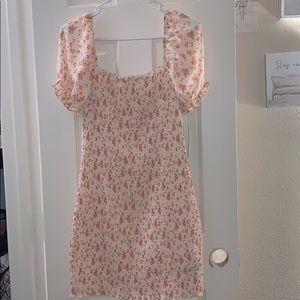 floral ruched puff sleeve dress
